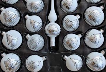 Lauscha 40er Christbaumschmuck, Weihnachtsbaumkugel Weiß mit Haus in Silber, 38 Kugel+Spitze+Aufhänger, Handarbeit - 5