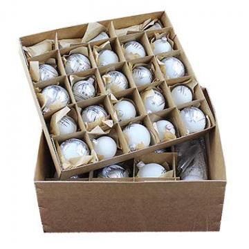 Lauscha 40er Christbaumschmuck, Weihnachtsbaumkugel Weiß mit Haus in Silber, 38 Kugel+Spitze+Aufhänger, Handarbeit - 6