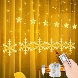 LED Lichtervorhang, 3.5M LED Lichterkette Sterne Lichtervorhang mit Schneeflocke, Weihnachtsbeleuchtung 8 Modi, Sternenvorhang Innen & Außen Wasserdicht Deko für Weihnachten, Zimmer, Party - 1