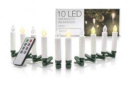 LED Universum kabellose Weihnachtsbaumbeleuchtung: dimmbare batteriebetriebene LED Kerzen mit Fernbedienung und Timerfunktion (10er Set, warmweiß, mit verschiedenen Modi, drahtlos) - 1
