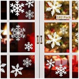 Linkbro Weihnachtsdeko Fensterbilder,[182 Pack] Schneeflocken Fenster Deko, Abnehmbare Statisch Haftende PVC Aufkleber für Weihnachtsdeko Fenster, Winter Deko,Türen,Schaufenster,Vitrinen,Glasfronten - 1