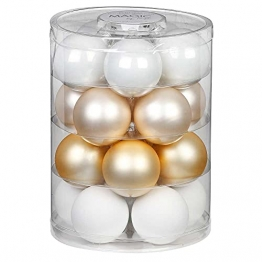 MAGIC Weihnachtskugeln Glas 6cm 20 STK. Christbaumkugeln (Warm Moment ( Gold Weiß )) - 1
