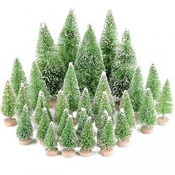 MEJOSER 30 Stück 4 Größen Künstlicher Weihnachtsbaum Miniatur Klein Tisch Christmasbaum Mini Grün Tannenbaum mit Schnee-Effek Mini Weihnachts Baum Dekoration Geschenk Tischdeko, DIY, Schaufenster - 1
