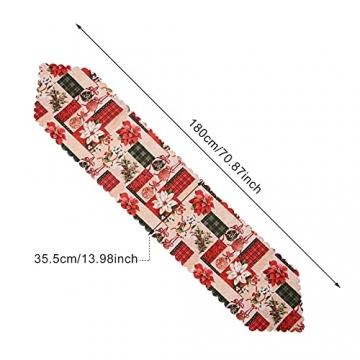 NIUXICH Tischläufer, Weihnachtstischwäsche mit Elch, Weihnachtsbaum, Weihnachtsstern, Dekoration für Esszimmer (180 x 78,7 cm), 4 Stück - 2