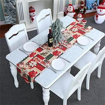 NIUXICH Tischläufer, Weihnachtstischwäsche mit Elch, Weihnachtsbaum, Weihnachtsstern, Dekoration für Esszimmer (180 x 78,7 cm), 4 Stück - 3