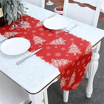NIUXICH Tischläufer, Weihnachtstischwäsche mit Elch, Weihnachtsbaum, Weihnachtsstern, Dekoration für Esszimmer (180 x 78,7 cm), 4 Stück - 4