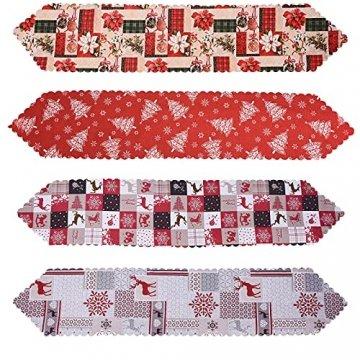 NIUXICH Tischläufer, Weihnachtstischwäsche mit Elch, Weihnachtsbaum, Weihnachtsstern, Dekoration für Esszimmer (180 x 78,7 cm), 4 Stück - 1