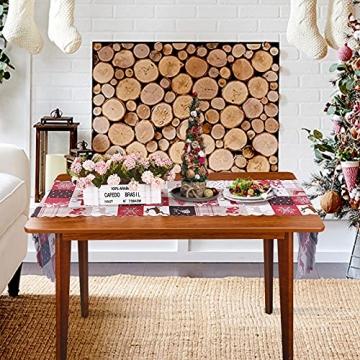 NIUXICH Tischläufer, Weihnachtstischwäsche mit Elch, Weihnachtsbaum, Weihnachtsstern, Dekoration für Esszimmer (180 x 78,7 cm), 4 Stück - 5