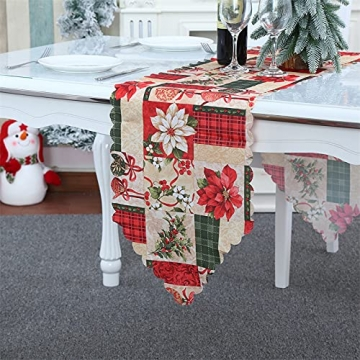 NIUXICH Tischläufer, Weihnachtstischwäsche mit Elch, Weihnachtsbaum, Weihnachtsstern, Dekoration für Esszimmer (180 x 78,7 cm), 4 Stück - 6