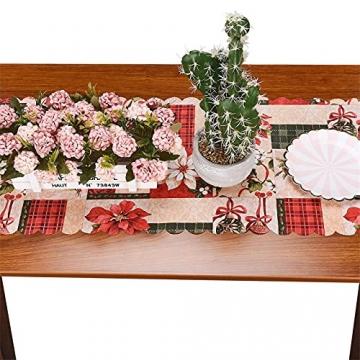 NIUXICH Tischläufer, Weihnachtstischwäsche mit Elch, Weihnachtsbaum, Weihnachtsstern, Dekoration für Esszimmer (180 x 78,7 cm), 4 Stück - 7