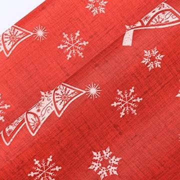 NIUXICH Tischläufer, Weihnachtstischwäsche mit Elch, Weihnachtsbaum, Weihnachtsstern, Dekoration für Esszimmer (180 x 78,7 cm), 4 Stück - 8