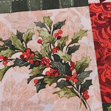 NIUXICH Tischläufer, Weihnachtstischwäsche mit Elch, Weihnachtsbaum, Weihnachtsstern, Dekoration für Esszimmer (180 x 78,7 cm), 4 Stück - 9