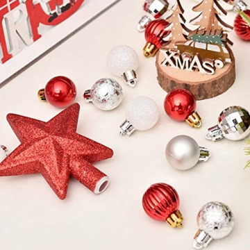 O-Kinee Weihnachtskugeln Rot, 30 pcs Weihnachtsdeko Kugeln Set, Kugeln Weihnachtsdeko, Christbaumkugeln Kunststoff, Glänzend Glitzernd Matt Weihnachtsbaum Deko & Christbaumschmuck, 3CM(rot) - 3