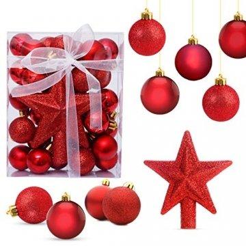 O-Kinee Weihnachtskugeln Rot, 30 pcs Weihnachtsdeko Kugeln Set, Kugeln Weihnachtsdeko, Christbaumkugeln Kunststoff, Glänzend Glitzernd Matt Weihnachtsbaum Deko & Christbaumschmuck, 3CM(rot) - 1