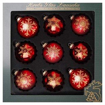 ORIGINAL LAUSCHAER Christbaumschmuck - 9er Set Kugeln, handdekoriert, Satin rot, Kugel Ø 8 cm, mit goldenem Krönchen + 50 Schnellaufhänger in Gold GRATIS zu Ihrer Bestellung dazu ! - 1