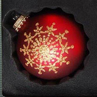 ORIGINAL LAUSCHAER Christbaumschmuck - 9er Set Kugeln, handdekoriert, Satin rot, Kugel Ø 8 cm, mit goldenem Krönchen + 50 Schnellaufhänger in Gold GRATIS zu Ihrer Bestellung dazu ! - 6