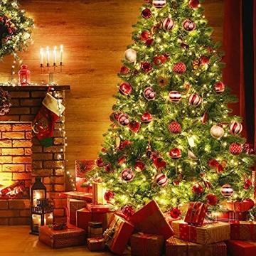 OurWarm 36er Set Christbaumkugeln,6 Arten von großem Rot und Gold bruchsicheren Weihnachtskugel Set für Weihnachtsbaumschmuck,Christbaumschmuck, Hochzeitsdekoration, (7cm Ø Durchmesser) - 6