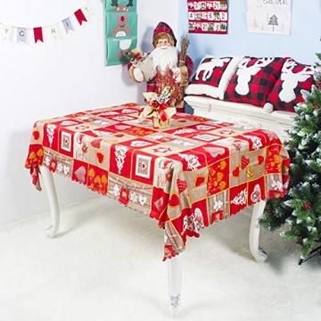 QUQU Weihnachtstapete Weihnachtskarikatur Waschbare Polyester Tischdecken 150 * 180cm Weihnachtstischwäsche (Color : C Grey Love, Size : 150 * 180cm) - 2