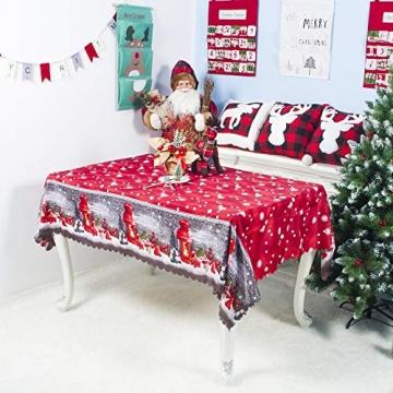 QUQU Weihnachtstapete Weihnachtskarikatur Waschbare Polyester Tischdecken 150 * 180cm Weihnachtstischwäsche (Color : C Grey Love, Size : 150 * 180cm) - 3