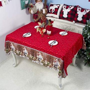 QUQU Weihnachtstapete Weihnachtskarikatur Waschbare Polyester Tischdecken 150 * 180cm Weihnachtstischwäsche (Color : C Grey Love, Size : 150 * 180cm) - 4