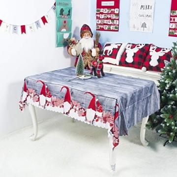 QUQU Weihnachtstapete Weihnachtskarikatur Waschbare Polyester Tischdecken 150 * 180cm Weihnachtstischwäsche (Color : C Grey Love, Size : 150 * 180cm) - 5