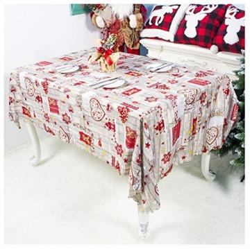 QUQU Weihnachtstapete Weihnachtskarikatur Waschbare Polyester Tischdecken 150 * 180cm Weihnachtstischwäsche (Color : C Grey Love, Size : 150 * 180cm) - 6