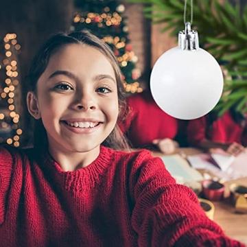 Relaxdays Weihnachtskugeln, 100er Set, Weihnachtsdeko, matt, glänzend, glitzernd, Christbaumkugel ∅ 3, 4 & 6 cm, weiß - 5
