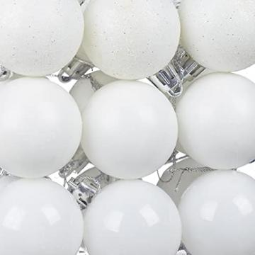 Relaxdays Weihnachtskugeln, 100er Set, Weihnachtsdeko, matt, glänzend, glitzernd, Christbaumkugel ∅ 3, 4 & 6 cm, weiß - 7