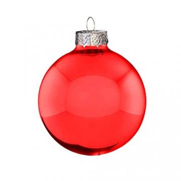 Riffelmacher 26252 - Glaskugeln rot, Durchmesser 6 cm, 24 Stück im Koffer, PVC-frei, Baumschmuck, Weihnachtsbaum, Dekoration, Weihnachten - 2