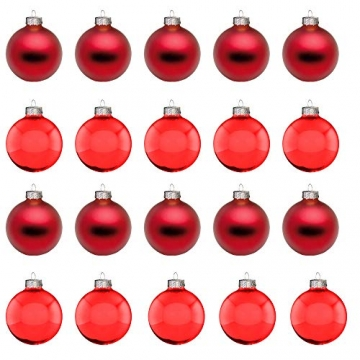 Riffelmacher 26252 - Glaskugeln rot, Durchmesser 6 cm, 24 Stück im Koffer, PVC-frei, Baumschmuck, Weihnachtsbaum, Dekoration, Weihnachten - 4