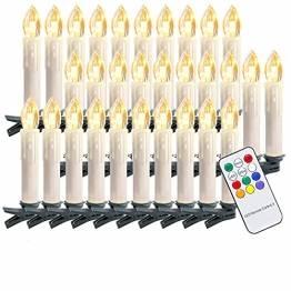 Riossad 30er LED Weihnachtskerzen Warmweiß, Flackern Christbaumkerzen Kabellos für Weihnachtsbaum Weihnachtsdeko Hochzeit Halloween Deko Erntedankgeschenk - 1