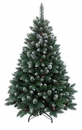 RS Trade HXT 15013 künstlicher Weihnachtsbaum 180 cm mit Schnee und Zapfen (Ø ca. 114 cm) ca. 1095 Spitzen, schwer entflammbarer Tannenbaum mit Schnellaufbau Klappsystem, inkl. Christbaum Ständer - 1