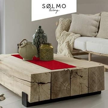 sølmo I Design Tischläufer Rot aus Filz I 100x30 cm Tischband I Abwaschbar mit Leder Label, Skandinavischer Tisch Filzläufer Frühjahr & Frühling (Wine Red) - 2