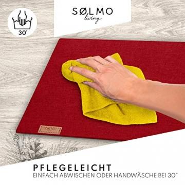 sølmo I Design Tischläufer Rot aus Filz I 100x30 cm Tischband I Abwaschbar mit Leder Label, Skandinavischer Tisch Filzläufer Frühjahr & Frühling (Wine Red) - 3