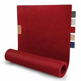sølmo I Design Tischläufer Rot aus Filz I 100x30 cm Tischband I Abwaschbar mit Leder Label, Skandinavischer Tisch Filzläufer Frühjahr & Frühling (Wine Red) - 1