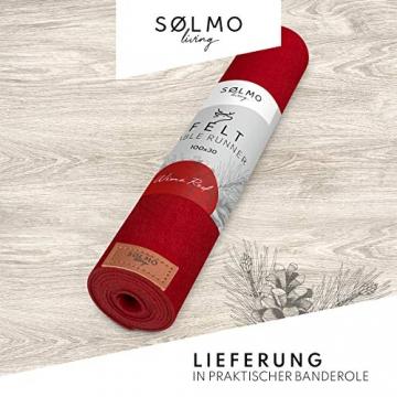 sølmo I Design Tischläufer Rot aus Filz I 100x30 cm Tischband I Abwaschbar mit Leder Label, Skandinavischer Tisch Filzläufer Frühjahr & Frühling (Wine Red) - 4