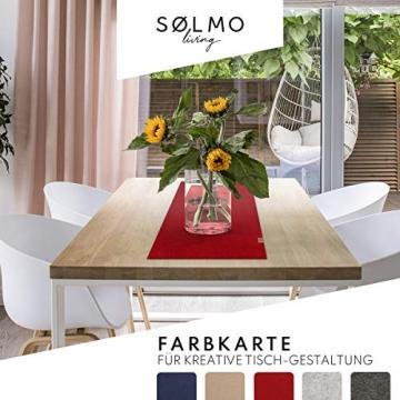 sølmo I Design Tischläufer Rot aus Filz I 100x30 cm Tischband I Abwaschbar mit Leder Label, Skandinavischer Tisch Filzläufer Frühjahr & Frühling (Wine Red) - 5