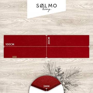 sølmo I Design Tischläufer Rot aus Filz I 100x30 cm Tischband I Abwaschbar mit Leder Label, Skandinavischer Tisch Filzläufer Frühjahr & Frühling (Wine Red) - 6