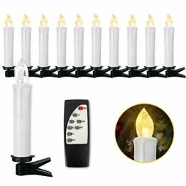 Soontrans Christbaumkerzen Kabellos Warmweiß LED Kerzen Weihnachtsbaumkerzen mit Timer Fernbedienung (10er) - 1