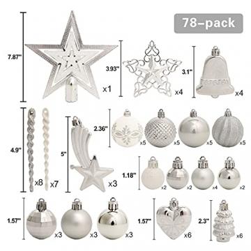 Weihnachtskugeln, 78-teiliges Christbaumschmuck-Set Silber und Weiß Weihnachtskugel hängende Ornamente - 2