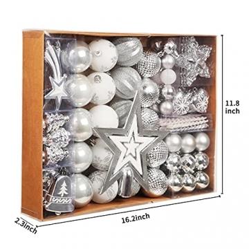 Weihnachtskugeln, 78-teiliges Christbaumschmuck-Set Silber und Weiß Weihnachtskugel hängende Ornamente - 3