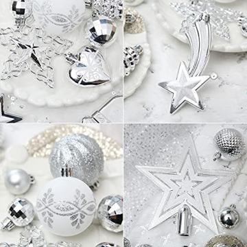 Weihnachtskugeln, 78-teiliges Christbaumschmuck-Set Silber und Weiß Weihnachtskugel hängende Ornamente - 4
