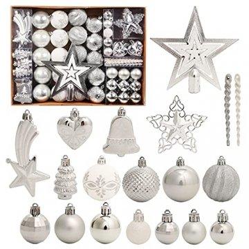 Weihnachtskugeln, 78-teiliges Christbaumschmuck-Set Silber und Weiß Weihnachtskugel hängende Ornamente - 1