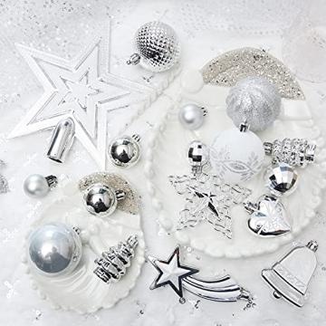 Weihnachtskugeln, 78-teiliges Christbaumschmuck-Set Silber und Weiß Weihnachtskugel hängende Ornamente - 5