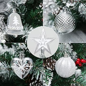 Weihnachtskugeln, 78-teiliges Christbaumschmuck-Set Silber und Weiß Weihnachtskugel hängende Ornamente - 6
