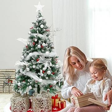 Weihnachtskugeln, 78-teiliges Christbaumschmuck-Set Silber und Weiß Weihnachtskugel hängende Ornamente - 7