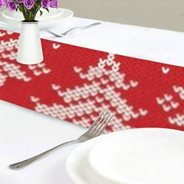 WENP Tischläufer für die Küche zu Hause Esstisch Dekor Küchenläufer Winterurlaub Nahtloses Strickmuster Weihnachtstischwäsche für Party- / Alltagsgebrauch (13x70in) - 3