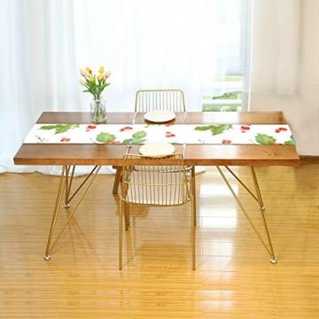 WENP Tischläufer für die Küche zu Hause Esstischdekor Tischläufer Vintage Holly Berry Hintergrund Nahtlose Weihnachtstischwäsche für Party- / Alltagsgebrauch (13x70in) - 2