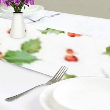 WENP Tischläufer für die Küche zu Hause Esstischdekor Tischläufer Vintage Holly Berry Hintergrund Nahtlose Weihnachtstischwäsche für Party- / Alltagsgebrauch (13x70in) - 3