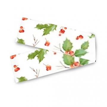 WENP Tischläufer für die Küche zu Hause Esstischdekor Tischläufer Vintage Holly Berry Hintergrund Nahtlose Weihnachtstischwäsche für Party- / Alltagsgebrauch (13x70in) - 4